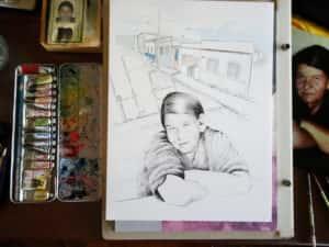 Pintura Zizinha Tiradentes 4 300x225 - Uma homenagem à Zizinha - Ainda finalizando nossa Casa Atelier