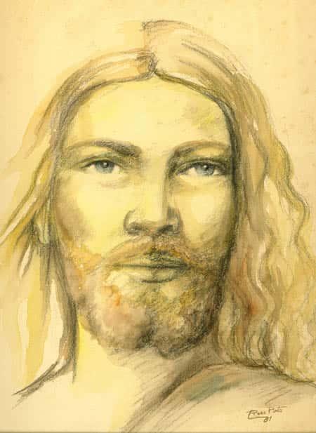Cristo em aquarela e crayon - Artes Plásticas
